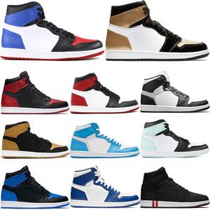 Мужские 1 1S Jumpman баскетбола верха обуви 3 золота носок Чикаго ункции королевский запретило суд фиолетовый сосновых зеленых человечков стилиста кроссовки