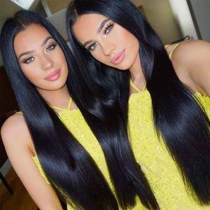 ¡Caliente! Las pelucas de pelo largo humana con el bebé Cabellos Negro Mujeres de profundo despedida sin cola Remy peluca de pelo Pre desplumados Hibaby Con 26 pulgadas