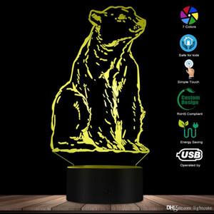 새로운 동물 토템 북극곰 나이트 라이트 3D 효과 착시 화이트 베어 데스크 램프 아이 방 야간 조명 동물 테마 램프