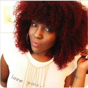Nuevo color rojo afro corto y rizado pelucas para mujeres Negro Americano Natura brasileño negro completo / peluca rubia con flequillo sintético resisatant de calor