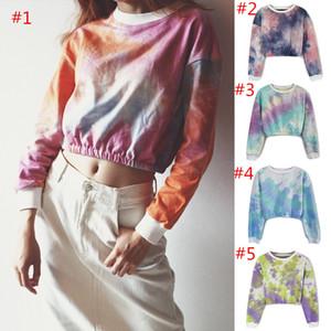Abbindgefärbten Frauen-T-Shirt Regenbogen-Steigungs Crop Top Langarm Hoodies Frühling Herbst Shirts Sweatshirt Mädchen Pullover Mode Tops Kleidung