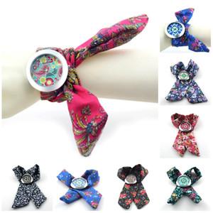 цветок ткань ткань часы модные женские платья красивые часы женские наручные часы сладкие девушки браслет часы
