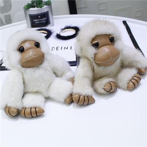 Reale echten Pelz-Affe-Spielzeug-Puppe-Taschen-Charme Schlüsselanhänger Anhänger Geschenk