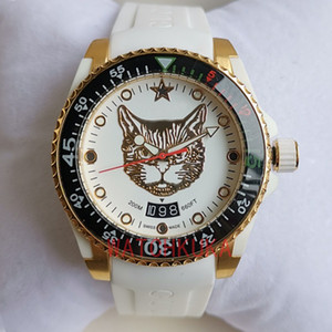2020 de haute qualité célèbre montres G-Timeless Mens Watch serpent tigre chat face de bracelet en caoutchouc mouvement ETA SWISS lumineux Dive Wristwatch