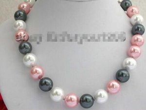 Livraison gratuite @@@@@ 14mm rose blanc noir Sea Shell Pearl Necklace!