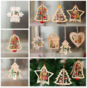 3D Wooden DIY Christmas Tree Hanging Ornaments Pendant Bells santa claus New Year Decor Christmas Decorations For Home
