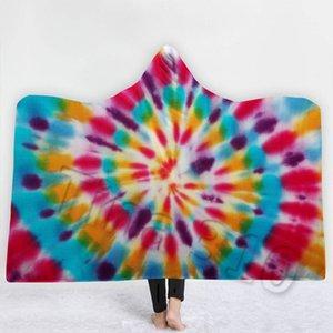 Sıcak Gökkuşağı Kapşonlu Battaniye kalınlaşma Baskılı Polar Battaniye Yetişkin Çocuk Yumuşak Warmapes Cloak Battaniye Piknik HomewareT2I5379