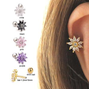Zircon Earrings Micro-inlaid Sun Flower Stainless Steel Screw Earrings Human Puncture