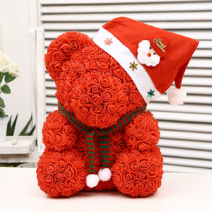 25cm Weihnachts Schaum Bär Der Rosen-Bär-Rosen-Blumen Artificial New Year Geschenke für Frauen Valentines Geschenk Weihnachtsdekoration