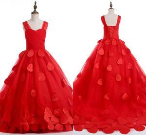 2020 Red Birthday Dress For Girls Vestidos De Desfile De Niñas 3D Flowers Pleated Tulle Spaghetti Lace-up Flower Girl Dresses For Wedding