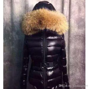 France Luxury Real Raccoon Fur Collar Hood Down Jacket Winter Coat Women Outerwear Slim Parkas Collar Down Jacket Warm Coats XS-2XL
