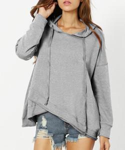 المرأة هوديس وبلوزات بأكمام طويلة سبليت عارضة رمادي اللون مقنع البلوز عارضة فضفاض البلوز سترة M-3XL