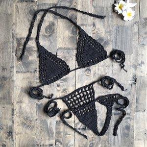 손으로 만든 크로 셰 뜨개질 마이크로 비키니 G 끈 끈형 해변 마이크로 수영복 섹시한 란제리 세트 여성용 뜨거운 판매