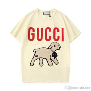 2020 primavera / verano de la camiseta chica cordero carta de lentejuelas bordado camiseta de un cordero cuello redondo informal de manga corta blusa App88 ## 233