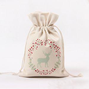 Sac de Noël Sac à cordonnet cadeau sac fourre-tout grande sucrerie Sacs de rangement Sacs Reindeers Imprimer Organisateur Père Noël Sac pochette pour Kid VT0732