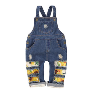 Children Sunflower Denim Jumpsuit Summer Clothes Fashion Kids Suspender Jeans Broken Holes Pants Baby Overalls pant Girls Clothing M1882