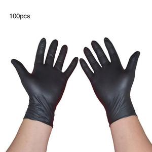 Guantes desechables 100PCS Negro de goma de látex Guante de Alimentos de limpieza del hogar guantes antiestáticos 4Sizes jardín de cocina