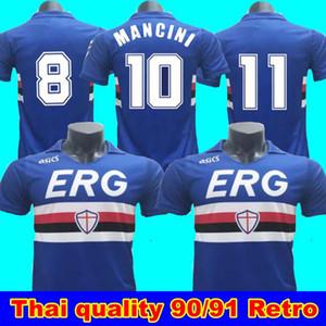 90 91 Sampdoria Retro Home Soccer Jersey Mancini Vialli 1990 1991 Maglie da Calcio Sampdoria Retro Camisa de Futebol Clássico Maillot