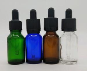 vape 15ml frasco gotero de vidrio ámbar transparente azul verde esmerilado color mate transparente con oro plata negro blanco tapa e aceite de perfume líquido
