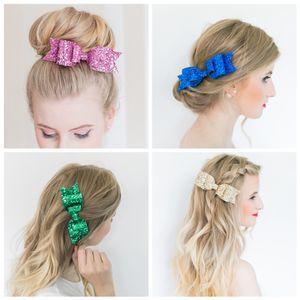 Клипы Мода Дети Лук волос Блеск блестки Лук Hairclip ребенка девушка свадебные аксессуары для волос шпильки Bling Заколки женщин Bangs клип
