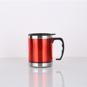 450ml Vacuum Cup Stainless Steel Mugs vehicle-mounted Water Bottle with Handgrip Red Blue Color