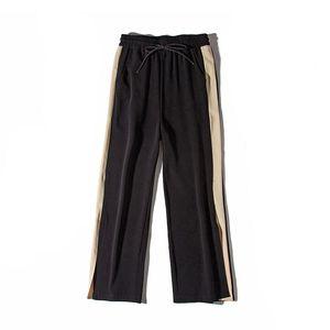 Große neue Art und Weise Leg Pants Women High Waist Split Hosen Frauen 2018 knöchellangen Seitenstreifen Palazzo Pants