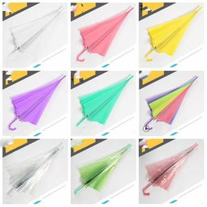 Дети Прозрачность зонтик длинные ручки зонтиков Красочные Радуга Parasol Место сгиба Детский Зонтики Дети дождя Защита LXL1042-1