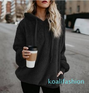 Fashion Flannel Jumper Hooded Sweater Women Solid Color Plus Velvet Warm Women's Tops Coat Russian Hot 9 Colors Pullovers Mujer ky08