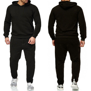 Mens Fatos Carta Imprimir fleece sweatsuits Suits moda Hommes Jogger Fit Pollover com capuz Hoodies ocasional Long Pants Outfits ZRTZ2JT