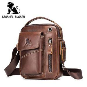 LAOSHIZI Genuine Leather men's Crossbody bag Vintage cow leather man Messenger Bags Small Shoulder bag for male Casual handbag
