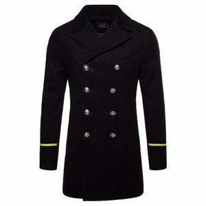 Мужская шерстяная смесь 2021 зимняя куртка пальто мужчины черные траншеи длинные секции двубортные шерстяные пальто мода куртки мужской пальто