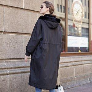 Coat 2020 Winter Parka Women Natural Mink Jacket Long Luxury Real Fur Coats Plus Size Two Side Wear 22229 KJ4896
