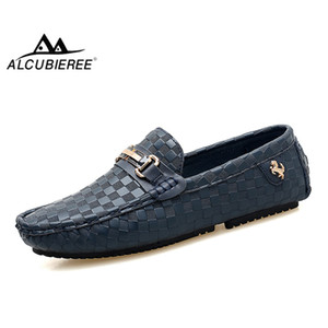 Alcubieree Brand Mens Embossed Leather Moccasins For Men High Quality Slip On Flats Loafers Fashion Buckle Style Driving Shoes MX190817
