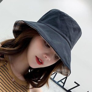 2019 Cotton Double sided black yellow embroidery Bucket Hat Fisherman Hat outdoor travel hat Sun Cap Hats for Men and Women