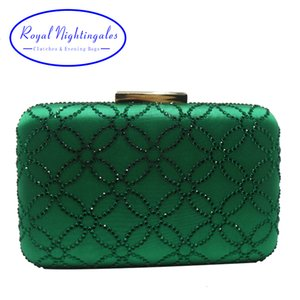 Royal Nightingales Large Crystal Evening Clutch Bag and Evening Bags for Womens Purses Handbag Emerald Green Navy Blue CJ191209