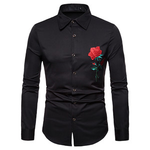 YOUYEDIAN 2019 Men's Autumn Winter  Casual Gold Embroidery Long Sleeve Shirt Top Blouse New arrival