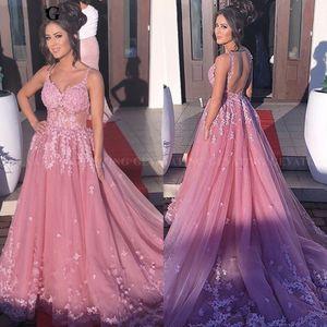 Arabe Dubaï rose robe de soirée 2019 blush rose mascarade robes de dîner pour les femmes 3D fleurs Appliques Long Backless formelle robes de bal