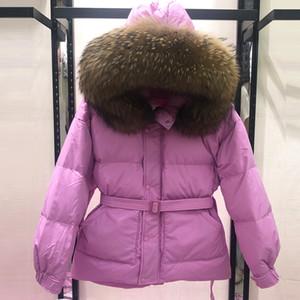 Huge Real Natural Raccoon Fur Collar 2020 Winter Jacket Women Short Down Parka White Duck Down Coat Female Hooded Warm Coat