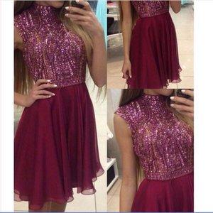 Cheap Petite High Neck Short Beaded Burgundy Chiffon Short Mini Rhinestone Homecoming Dresses 2018 Party Prom Dresses