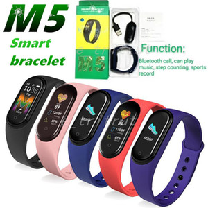 M5 Coloré Screen Bluetooth Call Smart Band Tracker Watch Bracelet Sport Récompense cardiaque Pression artérielle Smartband Moniteur Santé Bracelet MQ50