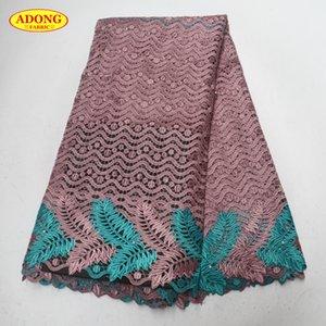 아프리카 물 레이스 패브릭 5 야드 / pc 고품질 Garmen 드레스에 대 한 높은 - 클래스 아프리카 레이스 직물 자 수와 비즈