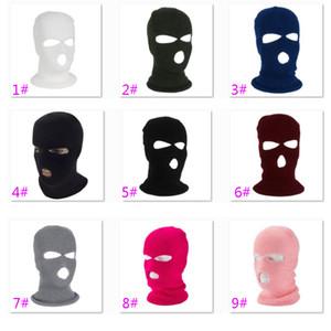 Nueva Knit mascarilla de 3 Agujero máscara de esquí Casco capilla del pasamontañas Motocicleta sombrero protector de cara Beanie Cap HH9-2975