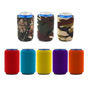 Foam Cup Abdeckung Coke Isolierung mit Unteres Gehäuse Kordelzug Flaschenhülle Zipper Flaschen-Hüllen Selbstklebende Unterseite Printing logo XD23638