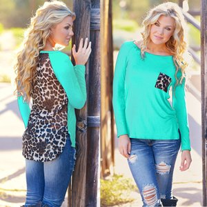 Camiseta New Outono Womens Plus Size 2015 Ladies Leopard manga comprida Chiffon Tops T-shirt Loose Women traje