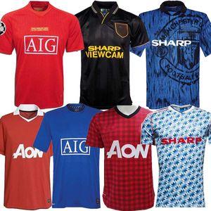 Top Man 2006 2007 2008 90 92 United Retro UCL maison finale utd match Manchester Jersey 1993 1994 1998 2010 2011 2013 United chemise RONALDO