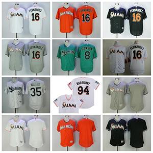 Beyzbol Vintage 16 Jose Fernandez Jersey 94 Bad Bunny Jersey ile Porto Rikolu Bayrak 35 Dontrelle Willis 8 Andre Dawson Siyah Beyaz Emekliye