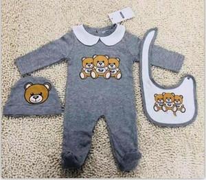 Nuevos niños infantil mamelucos del bebé del otoño del resorte lindo el oso imprimió los mamelucos para el bebé recién nacido Monos largos de algodón del mono de la manga + sombrero + babero