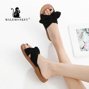 MACACO MASCULINO 023.025 Ladiy deslizamento Casual 2020 Verão feminina lindo Bohemia bowknot Flip Flops Mulheres Chinelos Plano Zapatos de mujer