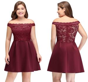 Venta populares en Borgoña vestidos de coctel cortos una línea del hombro del mini del partido de encaje satinado Prom Vestidos barato CPS698