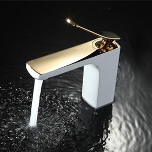 Смеситель для ванной комнаты Chrome / Gold White Живопись Кран Раковина Смеситель для раковины из латуни Сделанный на бортике бассейна